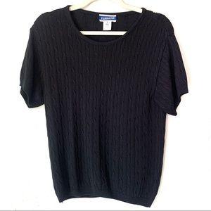 3/$18 Pendleton Black Cable Knit Top Shirt Medium